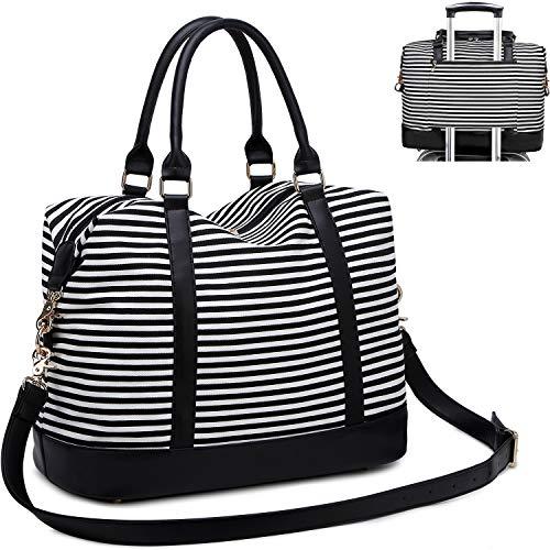 CAMTOP Women Ladies Weekender Travel Bag Canvas Overnight Carry-on Duffel Tote Luggage (Stripe -Black)