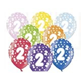 """SiDeSo® 10 Luftballons 12"""" Party Geburtstag Jahrestag (Zahl 2)"""