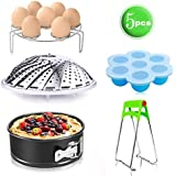 Instant Pot Accessories Set With Non-stick Springform Pan, Egg Bites Molds, Steamer Basket, Egg Steamer Rack, Kitchen Plate Gripper - Fits 5,6,8Qt Instapot Pressure Cooker - BPA-Free & Best Gift Idea