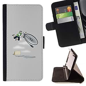 Momo Phone Case / Flip Funda de Cuero Case Cover - Divertido Bmx vintage del inconformista Gris - Samsung Galaxy A5 ( A5000 ) 2014 Version