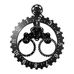Nclon Diy Gear Wall clock,Metal Parts Material 3d Moving Gear Wall clock Artwork Living room Restaurant Office-black 6855cm