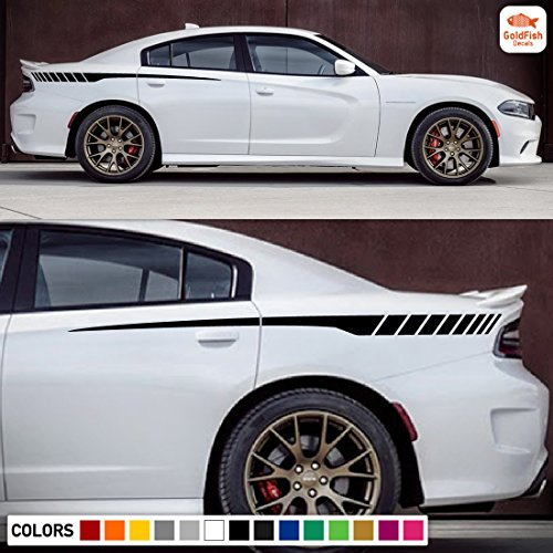 Charger Decal (Rear Quarter Racing Spear Stripe Kit Sticker Decal Graphic Compatible with Dodge Charger 2011-2017)