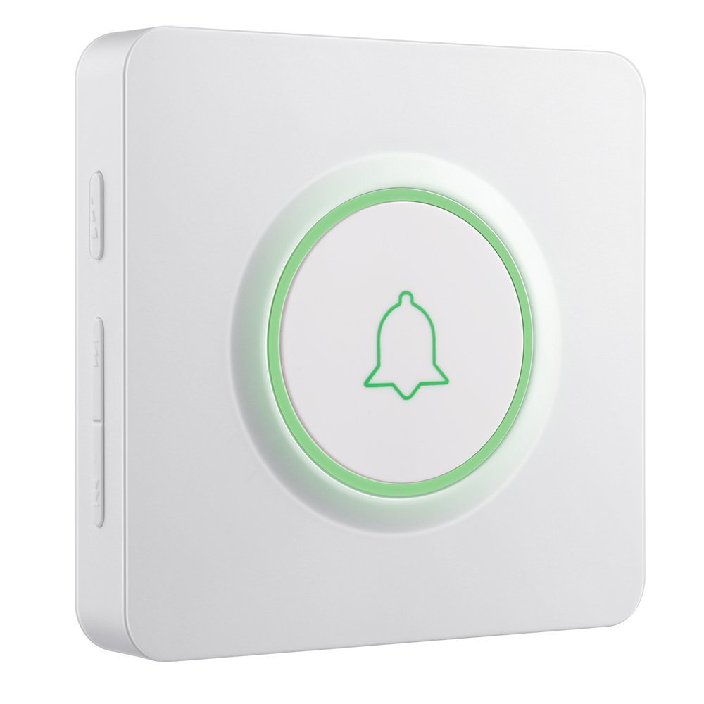Wireless Doorbell Kit, Door Bells with 2 Push Buttons Have Different Tones, AVANTEK Door Chime Waterproof DW-21 Operating at Over 1300 Feet, LED Indicators, 52 Melodies, Memory Function, White