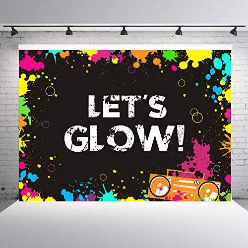 TJ 7x5FT Photography Backdrop Colorful Let's Glow Neon Light Dance Party Decoration Photo Background Studio Booth Props Banner Vinyl -