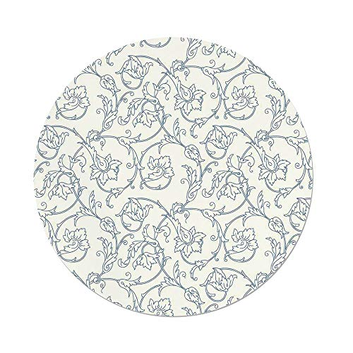 iPrint Polyester Round Tablecloth,Floral,Flower Orchids Bohemian Style Vintage Petals Vines Pattern French Country Style,Blue White,Dining Room Kitchen Picnic Table Cloth Cover,for Outdoor Indoor