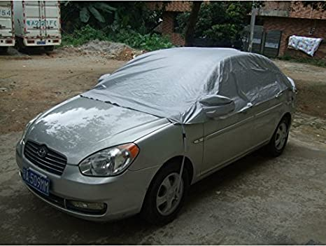 Car Half Cover, Sunscreen Heat Protection Anti-UV Proof Rain and Snow Auto Cover for Sedan Universal by MeiBoAll (M)