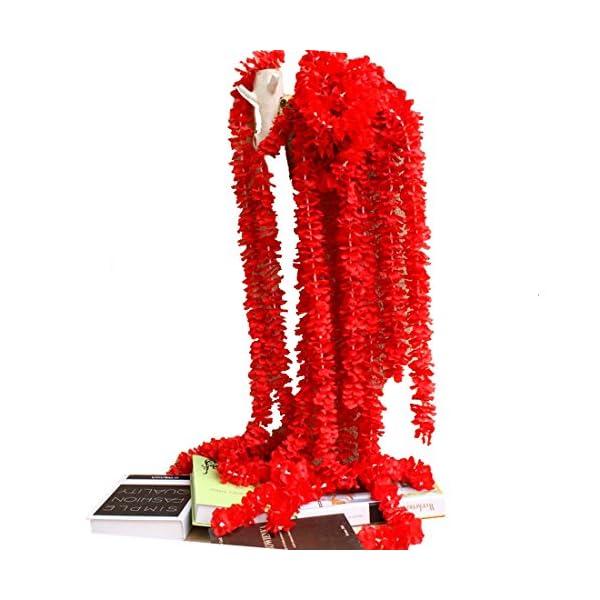 "Calcifer 39.37"" Set of 10 Artifical Wisteria String Hanging Silk Flower String for Garden Floral Decoration DIY Living Room Hanging Flower Plant Vine Home Party Wedding Simulation Decor (Red)"