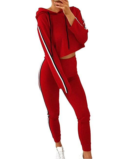 Romacci Women Two Piece Set Tracksuit Hooded Drawstring Crop Top Sport Pants Side Stripes High Waist Casual Sweat Suit