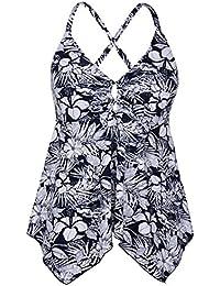 Women's Black Flowy Swimsuit Crossback Plus Size Tankini Top