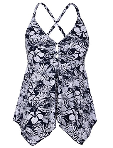 Firpearl Women's Black Floral Flowy Swimsuit Crossback Plus Size Tankini Top US16 White Blue Floral by Firpearl