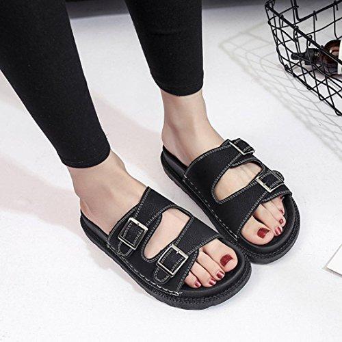 Sandalias De Las Mujeres, Zapatos De La Vida De Hometom Sandalias De Las Zapatillas De Las Mulas De Las Mujeres Zapatos Gruesos (6.5 (m) Los Eeuu, Gris) Negro