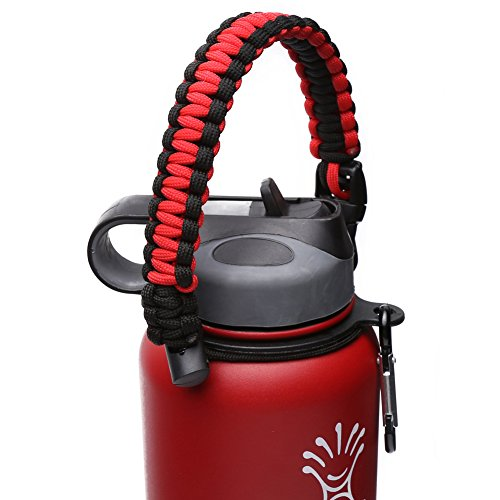 Handle for Hydro Flask - Paracord Survival Strap with Security Ring for Wide Mouth Water Bottles Carrier (Red/Black) by MOCE