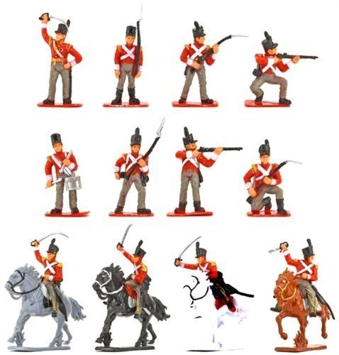 Napoleonic British Infantry Battle of Waterloo Painted Set 1/32 Scale 16 Pieces by Sunjade (Miniature Toy Soldier)