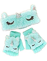 Unicorn Cold Weather Headwrap with Glove Set Plush (Aqua Unicorn)