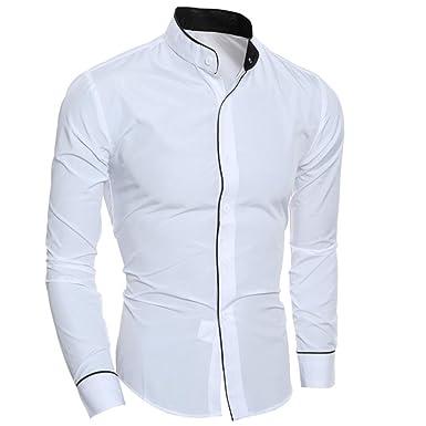 a911c14752333 LMMVP Camisa de Hombre Moda Personalidad Manga Larga Ajustado Clásico  Básica Botón Formal Casual Camiseta para Hombre Tops para Hombre Blusa para  Hombre  ...
