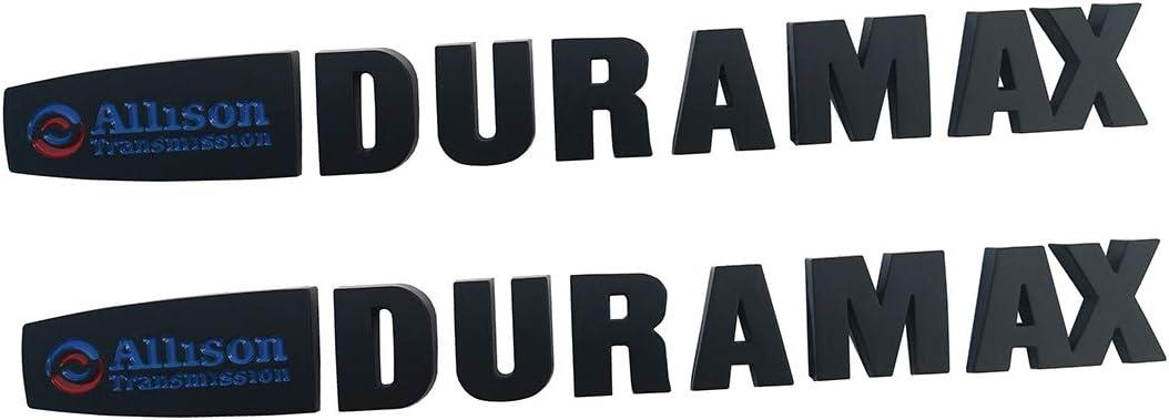 2Pcs Allison Duramax Badges Emblems Replacement for Gm 2015 Silverado 2500hd 3500hd Hood Black red