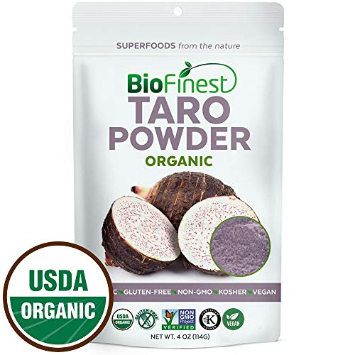 Biofinest Taro Powder -100% Pure Antioxidants Superfood - USDA Certified Organic Kosher Vegan Raw Non-GMO - Boost Digestion Weight Loss Detox - for Smoothie Bubble Tea Beverage (4 oz Resealable Bag) by BioFinest