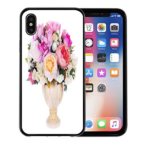 Emvency Phone Case for Apple iPhone Xs Case/iPhone X Case,Red Beautiful Colorful Vase Floral Arrangement Green Alstromeria Beauty Soft Rubber Border Decorative, Black