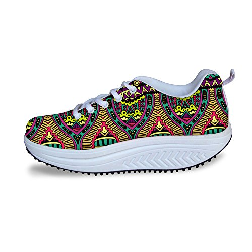Hugs Idea Multicolor Moda Donna Mesh Comfort Sneakers Stile Etnico