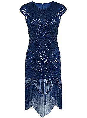Aecibzo Women's 1920s Gatsby Sequin Art Nouveau Embellished Fringed Flapper Dress