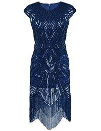 Aecibzo Women's 1920s Gatsby Sequin Art Nouveau Embellished Fringed Flapper Dress