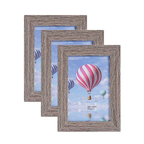(Metrekey 4x6 Picture Frame (3 Pack, Gray Oak Wood Finish), Photo Frame 4x6,for Table Top Display and Wall mounting Photo Frame)