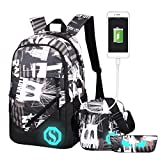 Fantastic Zone Boy Girl School Backpack for Childrens for Middle School, 3 Sets of Capacity 20L School Bag, Pencil Bag & Shoulder Bag, Book Backpack with Florescent Mark