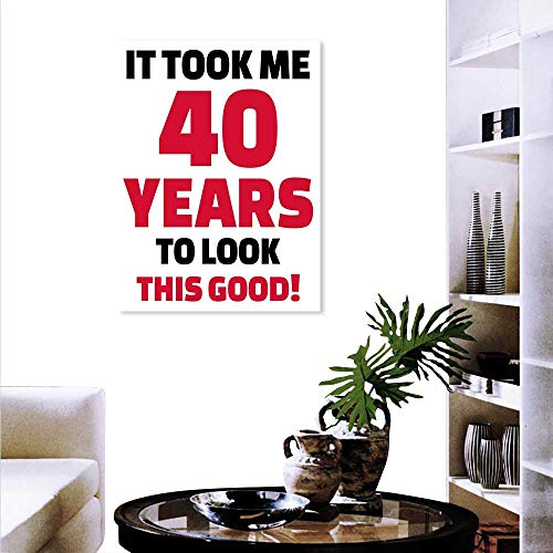 Cheap  Anyangeight 40th Birthday Wall Paintings Forty Years Looking Good Confident Cool Funny..