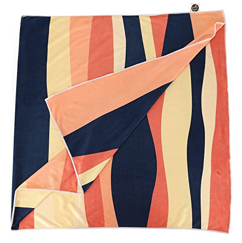 Microfiber Beach & Travel Towel by Isla Azul - Quick Dry, Ultra Light, Compact, Super Absorbent, and Soft - Great for the Beach, Pool, Gym, Yoga, Backpacking, and Travel (Cabana Sun Club)