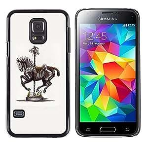 LECELL--Funda protectora / Cubierta / Piel For Samsung Galaxy S5 Mini, SM-G800, NOT S5 REGULAR! -- Horse Skeleton Fair Zebra Artistic --