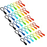 #1: Maosifang 35 Pieces Nylon Zipper Pull Cord Zipper Extension Zipper Tag Replacement Zipper Fixer,7 Colors