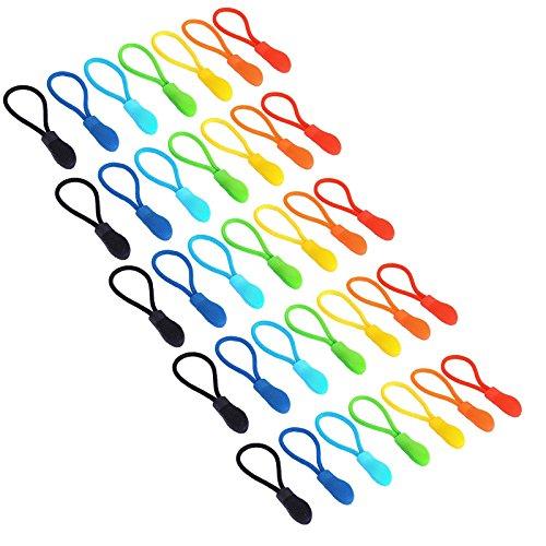 Maosifang 35 Pieces Nylon Zipper Pull Cord Zipper Extension Zipper Tag Replacement Zipper Fixer,7 Colors