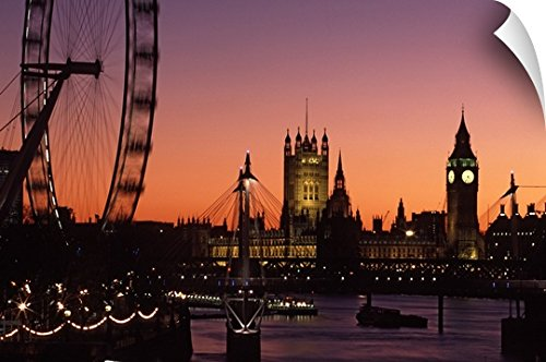 Canvas On Demand Wall Peel Wall Art Print entitled London skyline at sunset with the London Eye, Hungerford Foot Bridge and Parliament 30