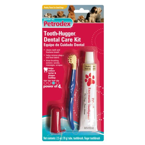 Petrodex Sm-Md Dog Poultry Toothpaste Tooth-Hugger Care Kit, 2 Toothbrushes, My Pet Supplies