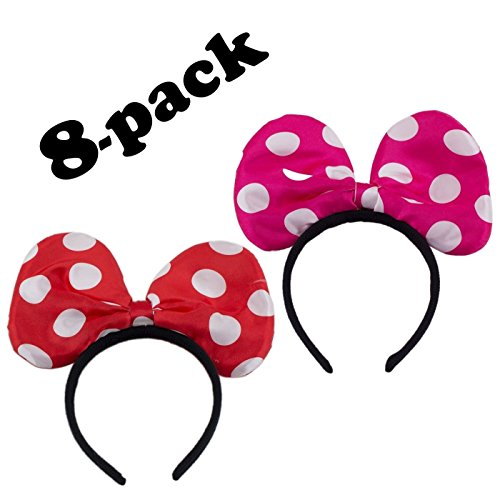 8-pack Minnie Mouse Ears Headband Party Favors and Supplies for Girl Minnie or Mickey Mouse Birthday Party (4 Pink / 4 (Cheap Minnie Mouse Ears)