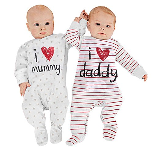 AOMOMO Unisex-Baby Newborn I Love Mummy I Love Daddy Bodysuit 2 Pack (3 Month) by AOMOMO (Image #4)