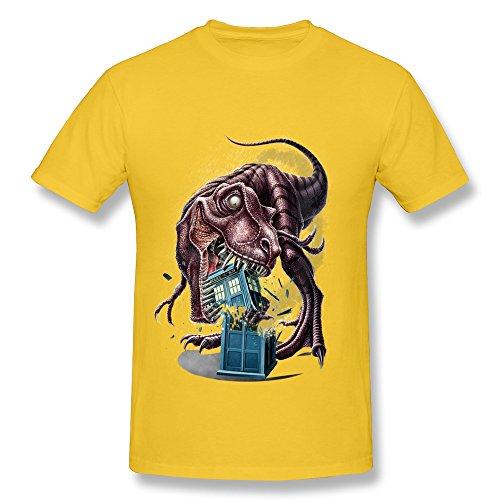 C-DIY Men's T-shirts Making Fashion T Rex Tardis Tee L Yellow
