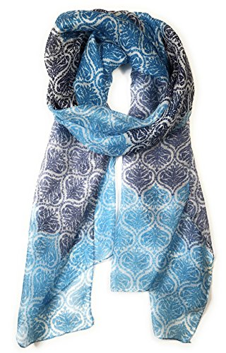 Z&HTrends Womens Genuine Silk Scarf (small, Gradient Ocean Waves)