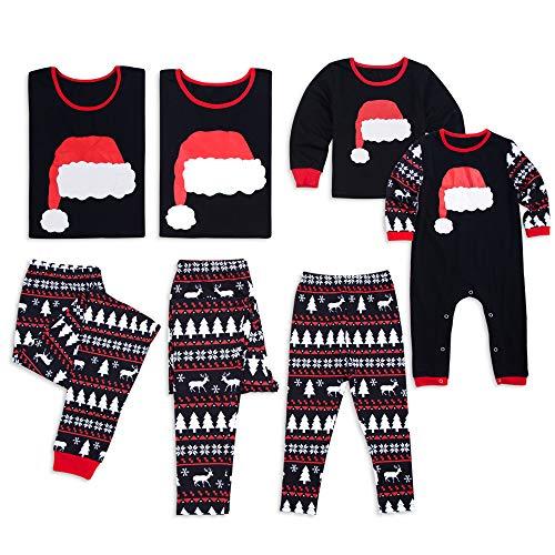 PatPat Family Matching Christmas Pajamas Set Santa Hat Printing Black Sleepwear for Women Men Baby Kids from Yaffi