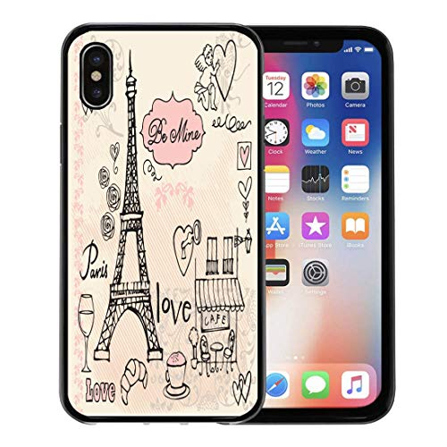 (Emvency Phone Case for Apple iPhone Xs Case/iPhone X Case,Sketch Pink Eiffel Love in Paris Tower Cafe Doodle Soft Rubber Border Decorative, Black)