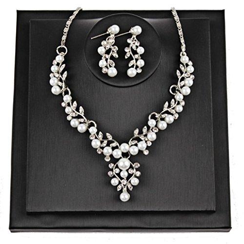 Pearl Purple Jade Necklace (Botrong Women Wedding Pearl Rhinestone Short Necklace Earrings Jewelry Set (Silver))