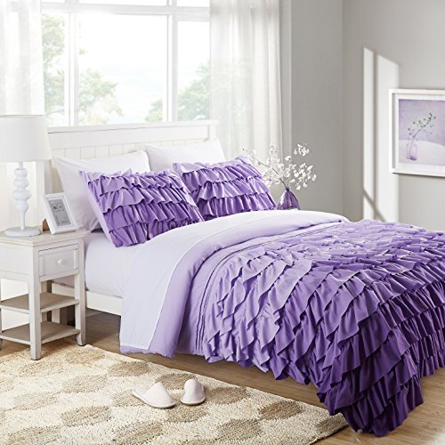Cassiel Home Gorgeous 3 Pieces Waterfall Flowing Ruffle Comforter Set Girl's Bedding Set Gifts for Kids Teen (Twin XL, Purple)