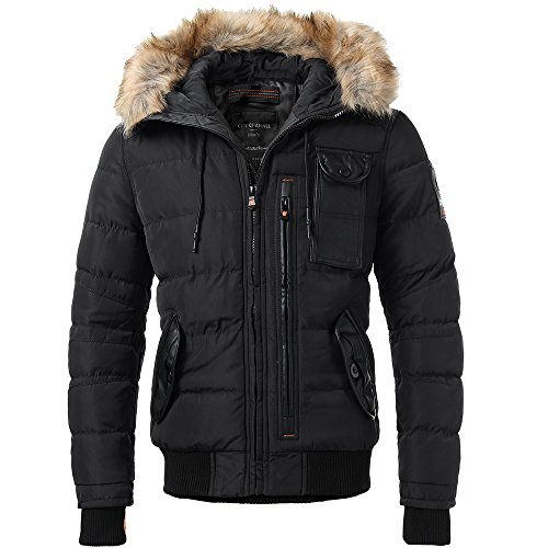 Men's Puffer Jacket Hooded Winter Quilted Jacket Detachable Fur ... : winter quilted coats - Adamdwight.com