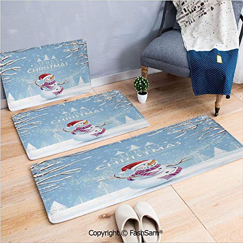 FashSam 3 Piece Non Slip Flannel Door Mat Cute Snowman in a Snowy Winter Day with Xmas Hat Frosty Noel Kids Nursery Theme Indoor Carpet for Bath Kitchen(W15.7xL23.6 by W19.6xL31.5 by W15.7xL39.4) 4 Piece Frosty Bath