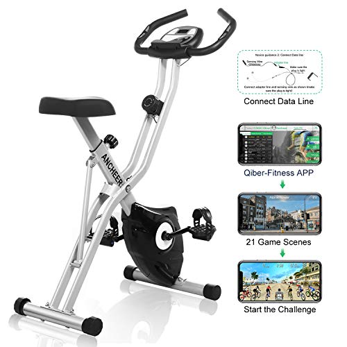 ANCHEER Folding Exercise Bike with APP Simulation Game, Indoor Stationary Bike with 10-Level Adjustable Magnetic Resistance Tablet Stand Large and Comfortable Seat
