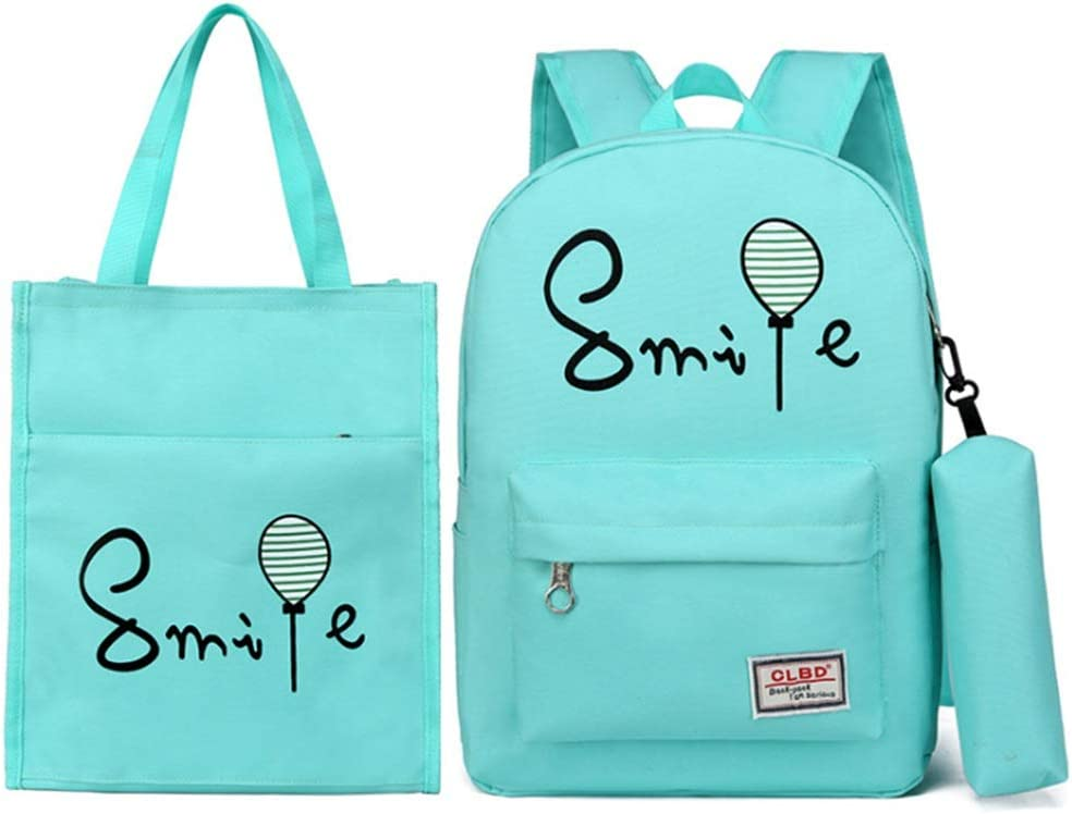 Kids Schoolbag Smile And Balloon Printing 3 Pcs Teens Girls Backpack Sets 3 In 1 Laptop Bag Students Backpack Shoulder Bag Purse Casual School Bookbag Canvas SchoolBags For Travel Daily Use Shoulder B