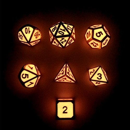Haxtec 7PCS Zinc Alloy DND Metal Dice Set Glow in the Dark Durable Polyhedral Glowing Dice D20 D12 D10 D8 D6 D4 for Dungeons and Dragons RPG MTG Table Games