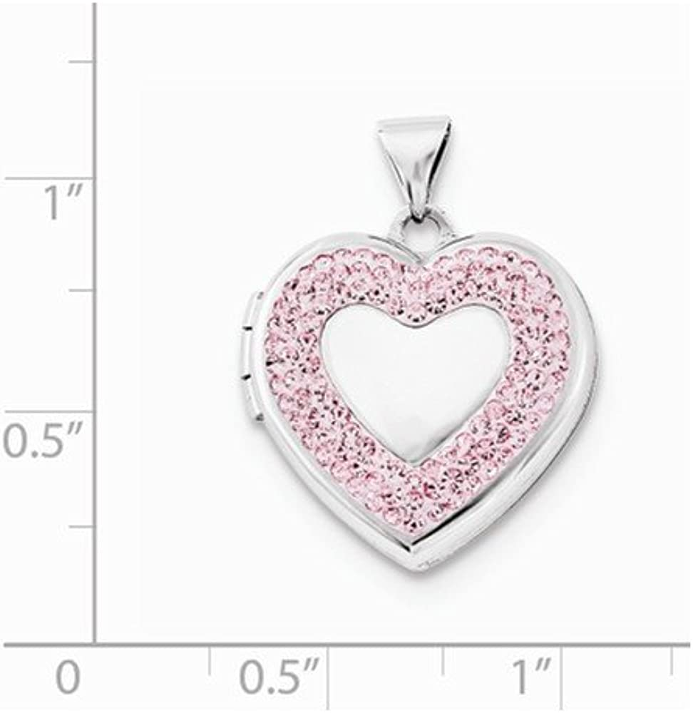 0.94 in x 0.71 in Sterling Silver 18mm Heart Light Rose Crystal Border Locket