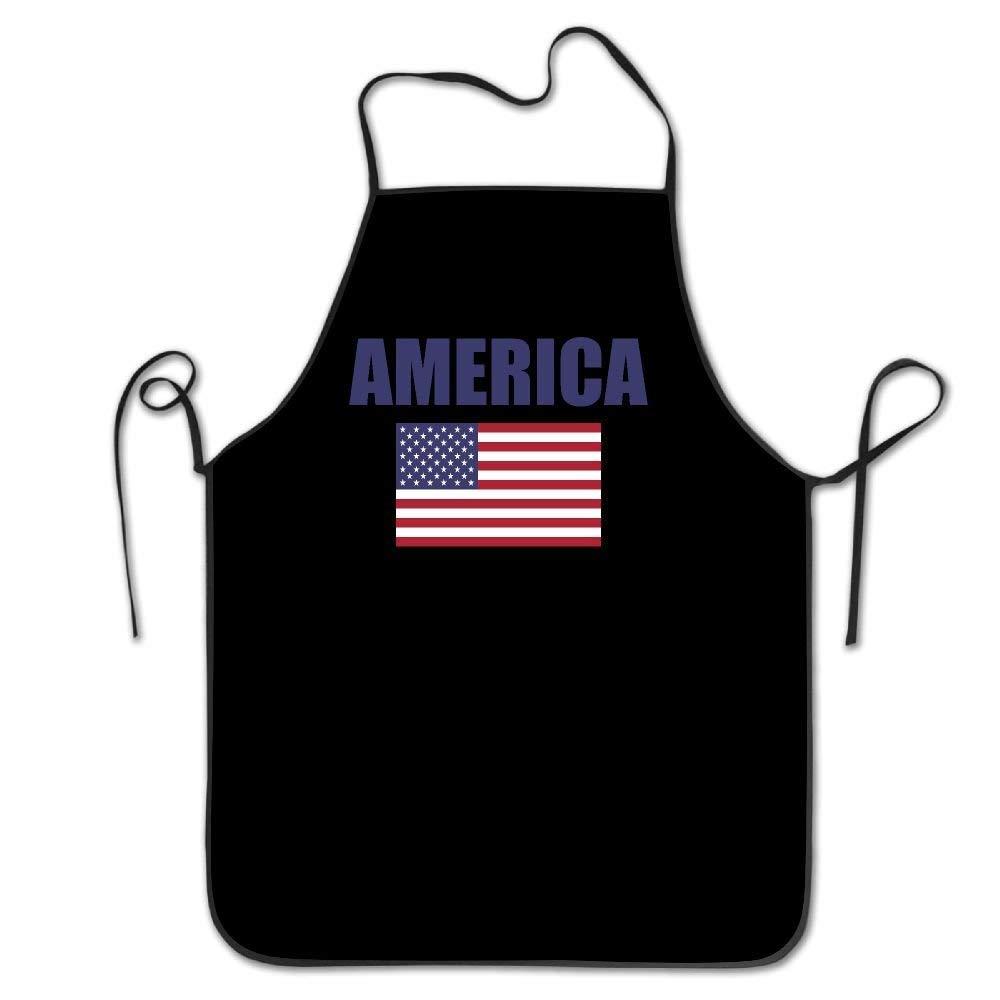 amiuhoun アメリカ国旗 女性 男性 キッチン よだれかけ エプロン フラワーショップ マニキュア ストア 調節可能なネックシェフエプロン   B07GR9HCWC