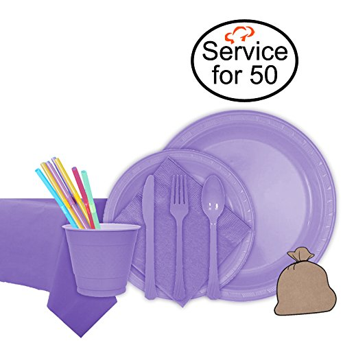 Tiger Chef Hydrangea Party Supplies Set for 50, Includes Plastic Party Plates, Plastic Cups, Napkins, Disposable Cutlery, Table cover, Straws, and Garbage Bag - Complete Party Pack